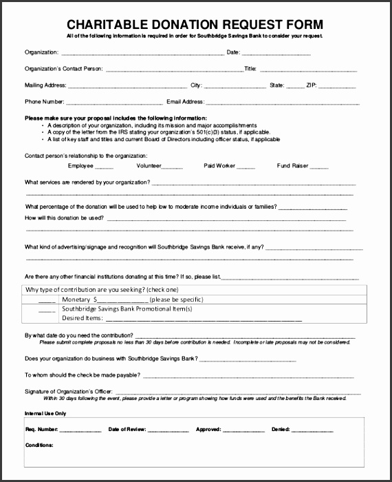 Charitable Donation Request Form Template