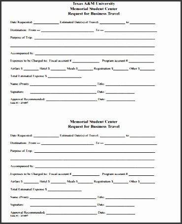 Sample Travel Request Form 10 Examples In Word Pdf with Travel Request Form