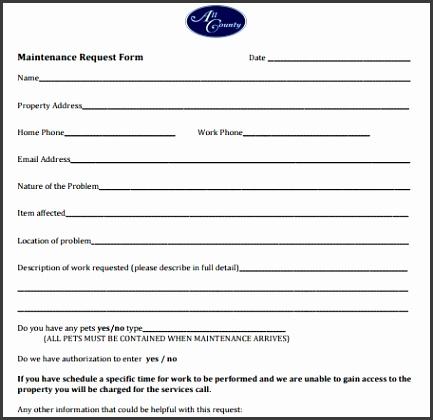 5 Maintenance Request Form Templates Formats Examples In Word Excel for Maintenance Request Form