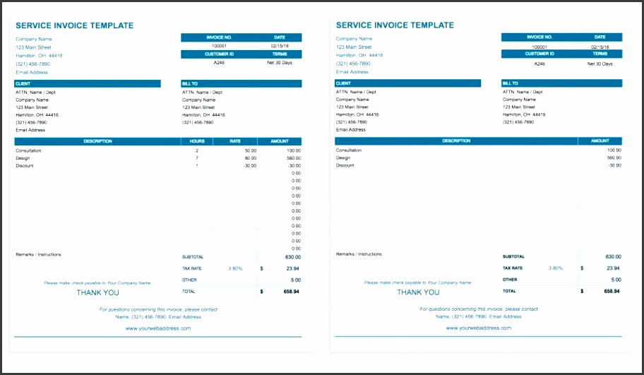 This Google Sheets invoice template is made for service providers and includes enough space for an itemized list of services along with hourly rates and