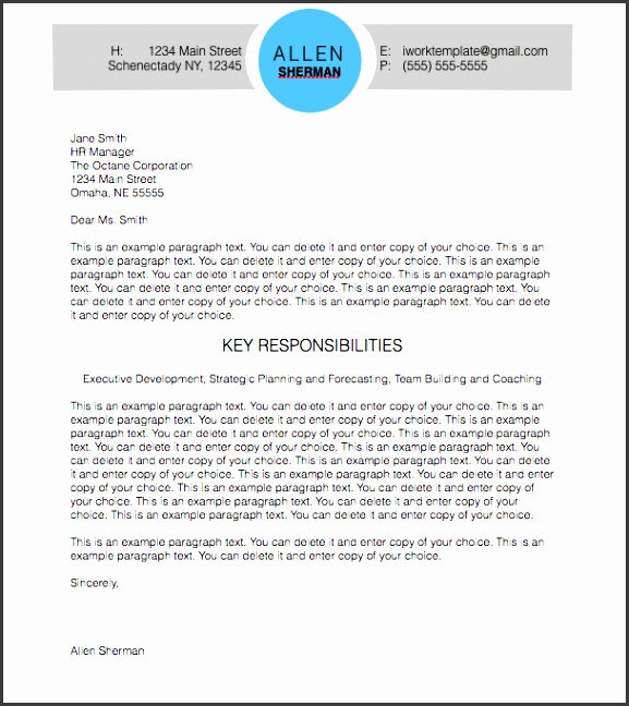 Modern Circle Cover Letter for Pages
