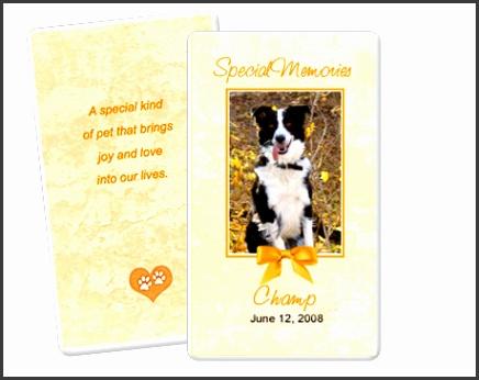 Peach Pet Memorial Flat Card Template Edit in Microsoft Word Publisher Apple iWork