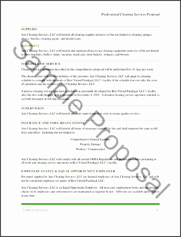 Sam ple Proposal 6 Professional Cleaning Services Proposal SAMPLE