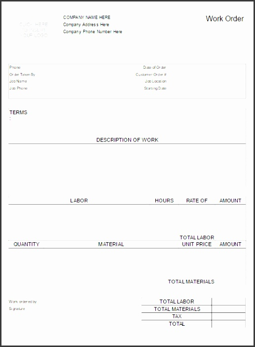 Try SmartDraw Free SmartDraw work order form