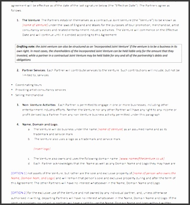 399 X 517 Shared Use Agreement Template Sample Joint Venture Agreement  399425  Joint Venture Agreements Sample