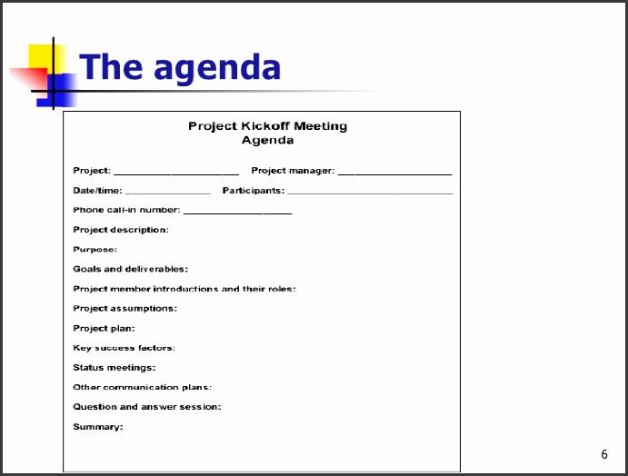 6 The agenda