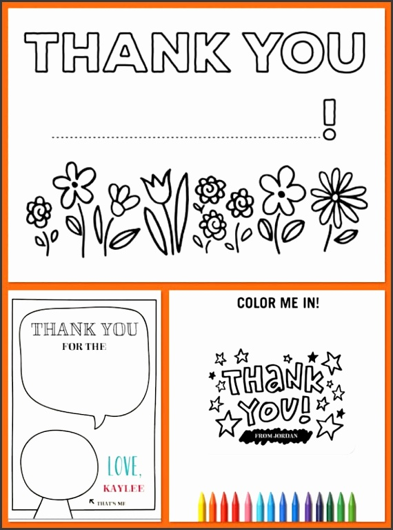 Color In Kids Thank You Notes