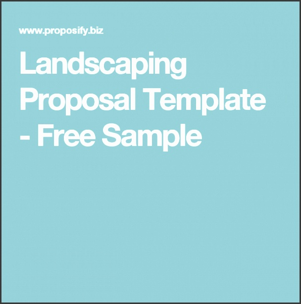 Landscaping Proposal Template Free Sample