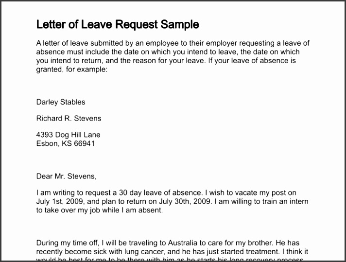letter of leave request sample 256 0