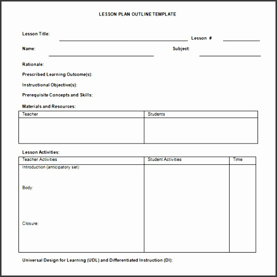 Sample lesson Plan Template Word DOC