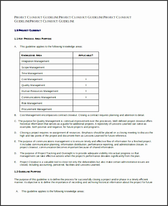 Project Closeout Template Free