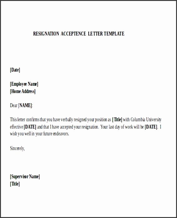 Acceptance of resignation letter absolute format employee