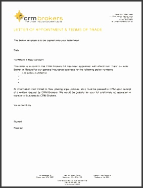insurance broker letter of appointment template