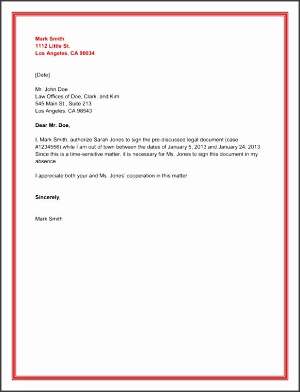Legal Authorization Letter Sample