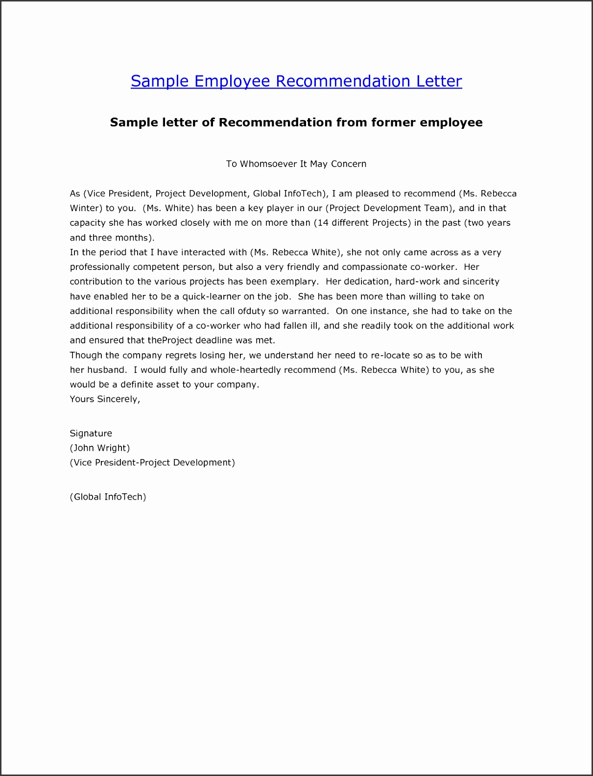 Employment Re mendation Letter Template