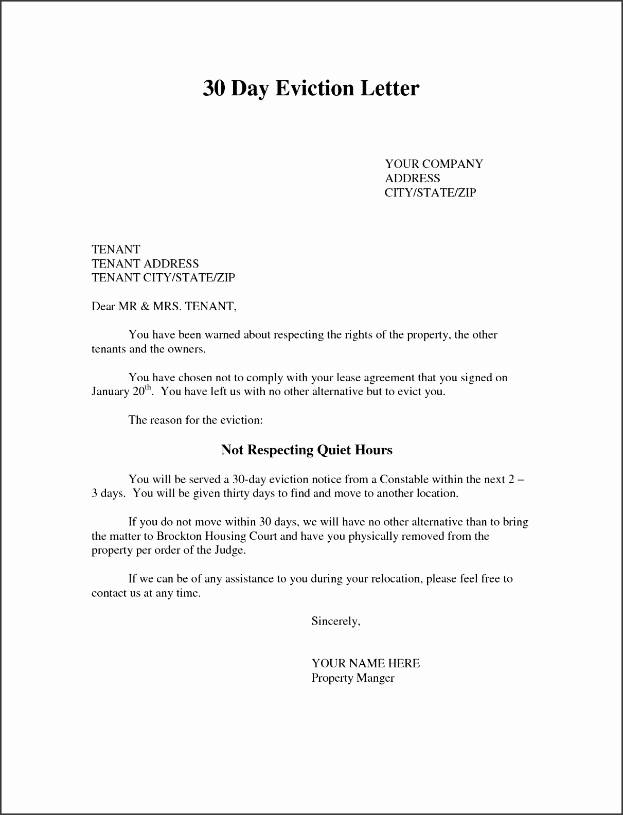 Eviction Letter south Africa Sample