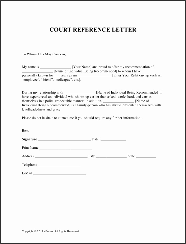 Free Character Reference Letter for Court Template Samples PDF Word
