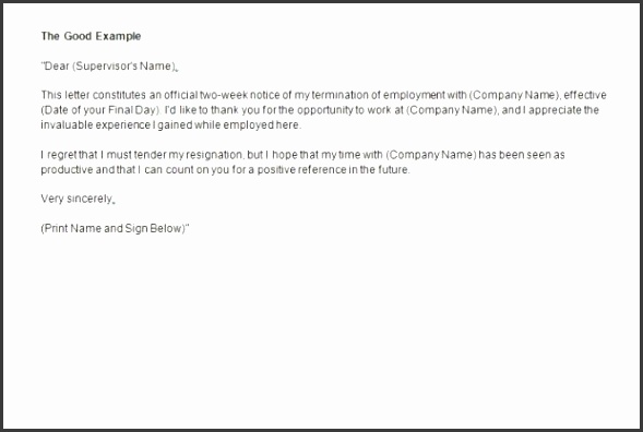 Two week notice letter template photoshot Two Week Notice Letter Template Revolutionary 40 Weeks Letters Resignation
