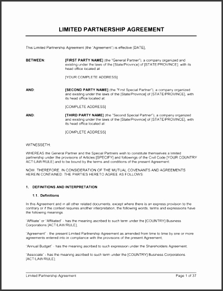 Limited Partnership Agreement 2 1 Fill in the Blanks 2 Customize Template 3 Save As Print Sign Done