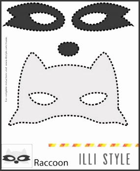 raccoon mask printable template illistyle