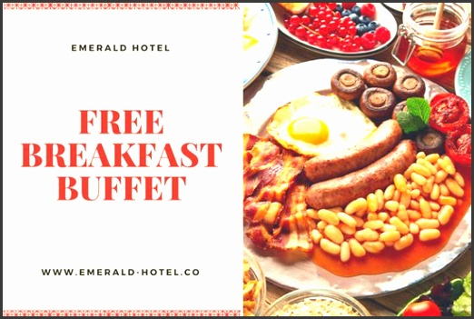 Red Bordered Hotel Breakfast GC Voucher