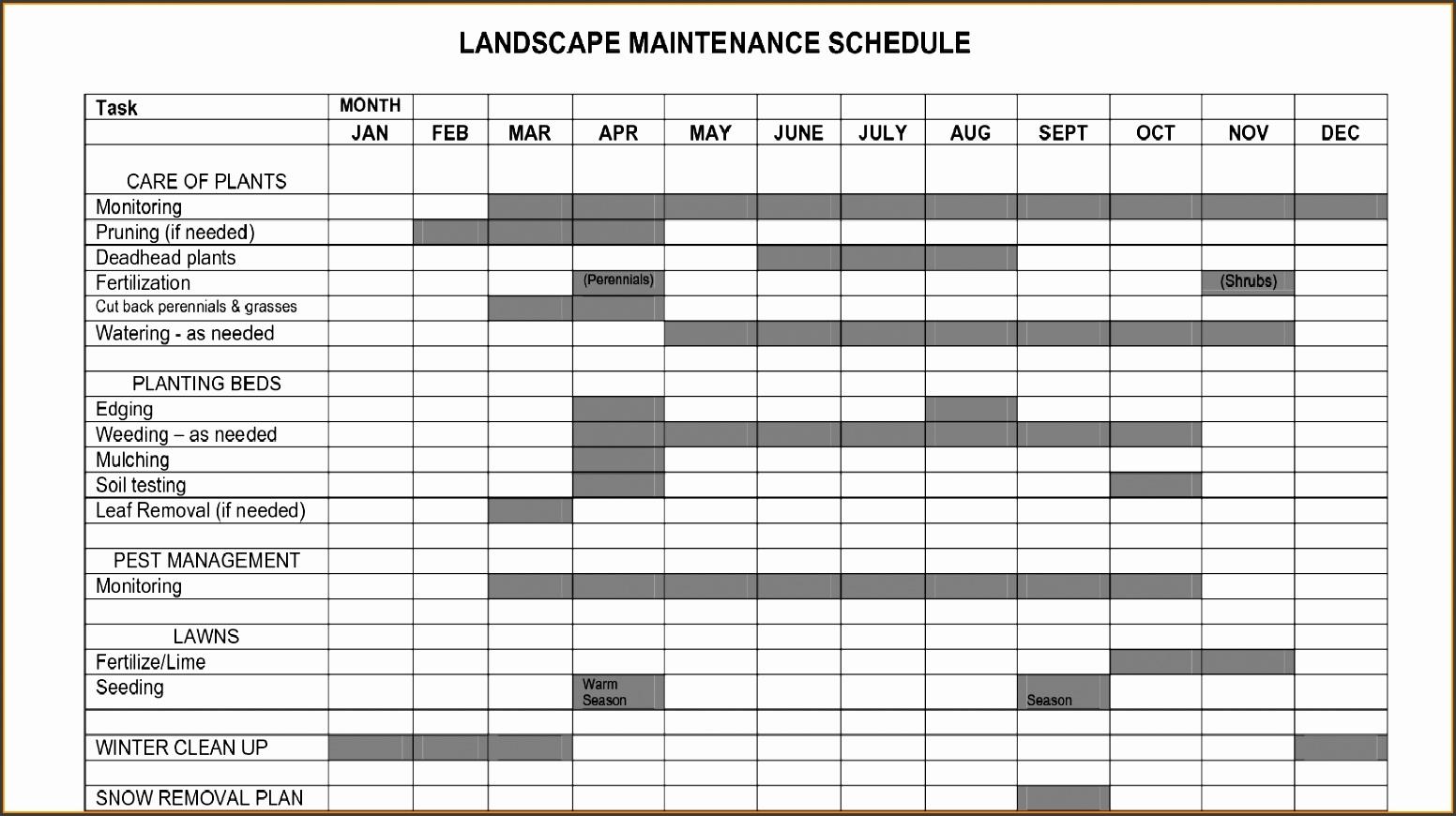 Landscape Maintenance Schedule Template
