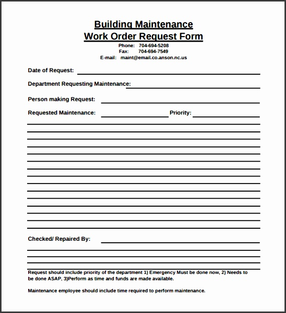 Maintenance Request Form Template Sample Maintenance Work Order Form 6 Free Documents In Pdf