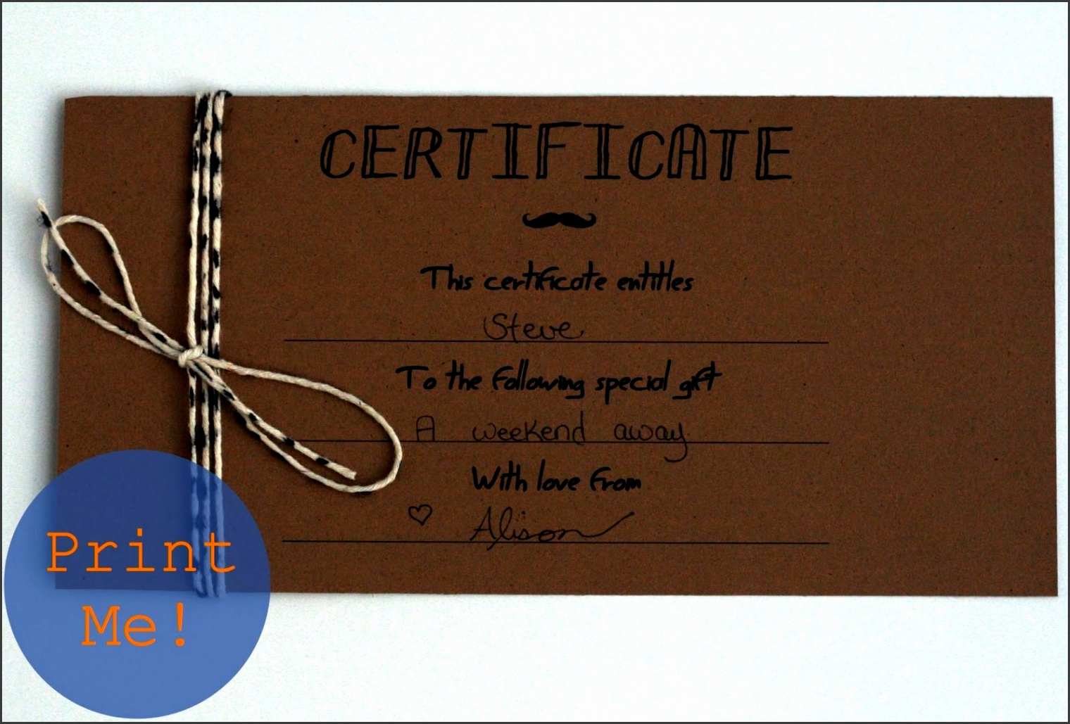 Printable Gift Certificates for Men