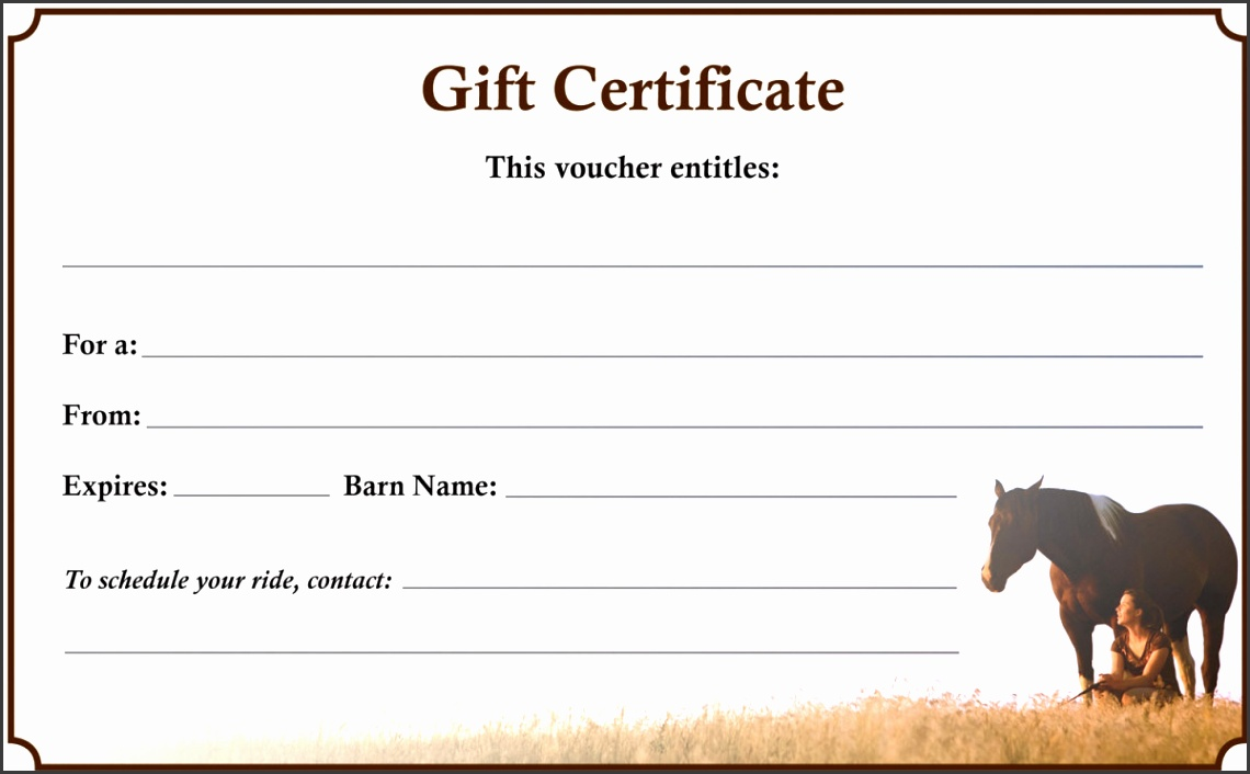Downloadable Gift Certificate The 1 Resource for Horse Farms Stables and Riding Instructors