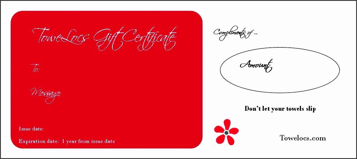 ToweLocs Gift Certificate