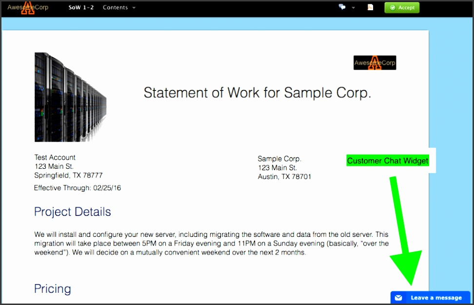 Managed Services Proposal Template Live Chat With Prospects In