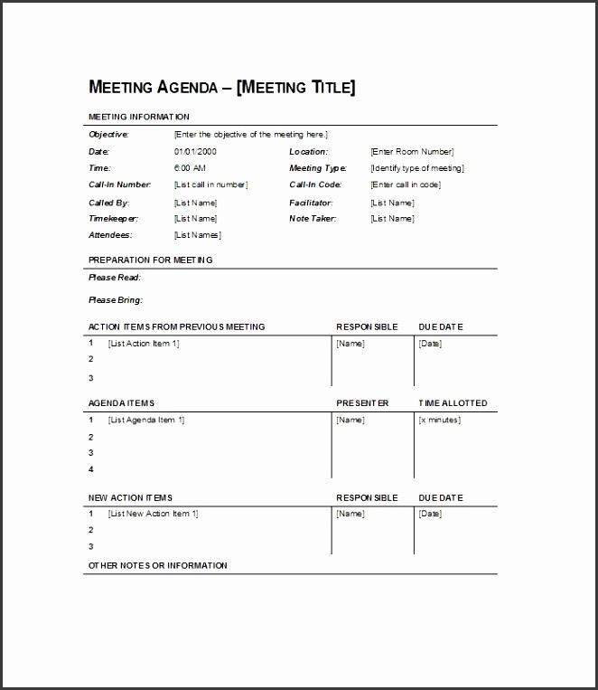 Printable Meeting Agenda Template 01