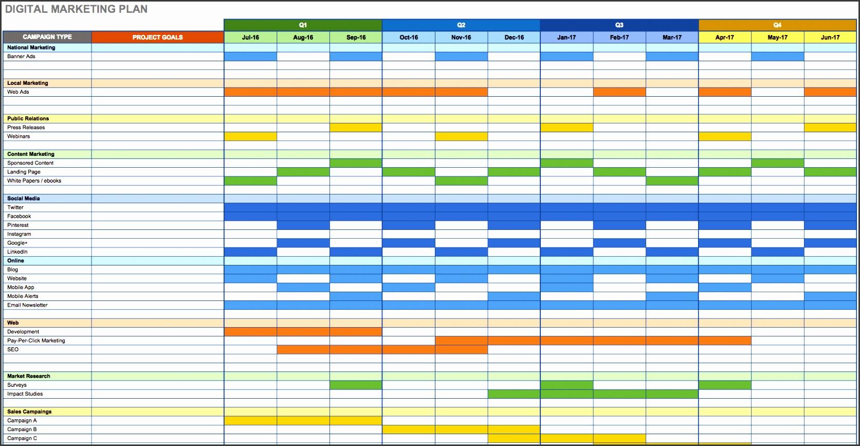 Digital Marketing Plan Excel