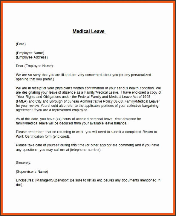 maternity leave letter template medical leave letter template 6