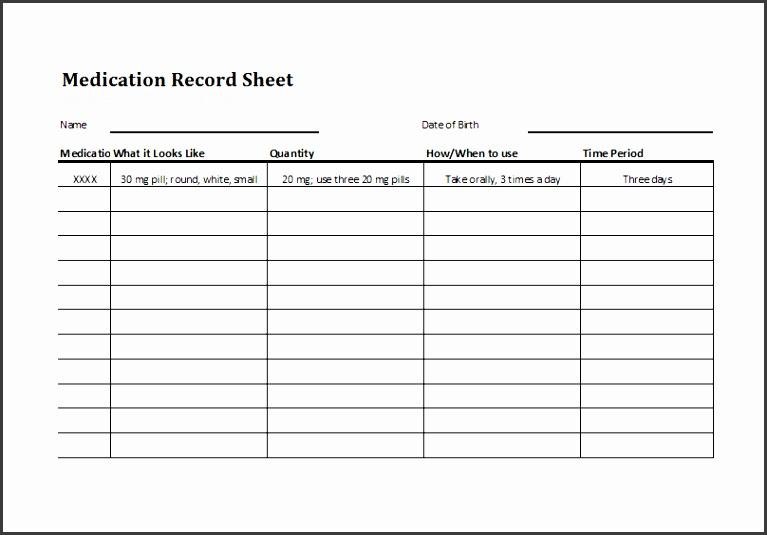 medication log spreadsheet