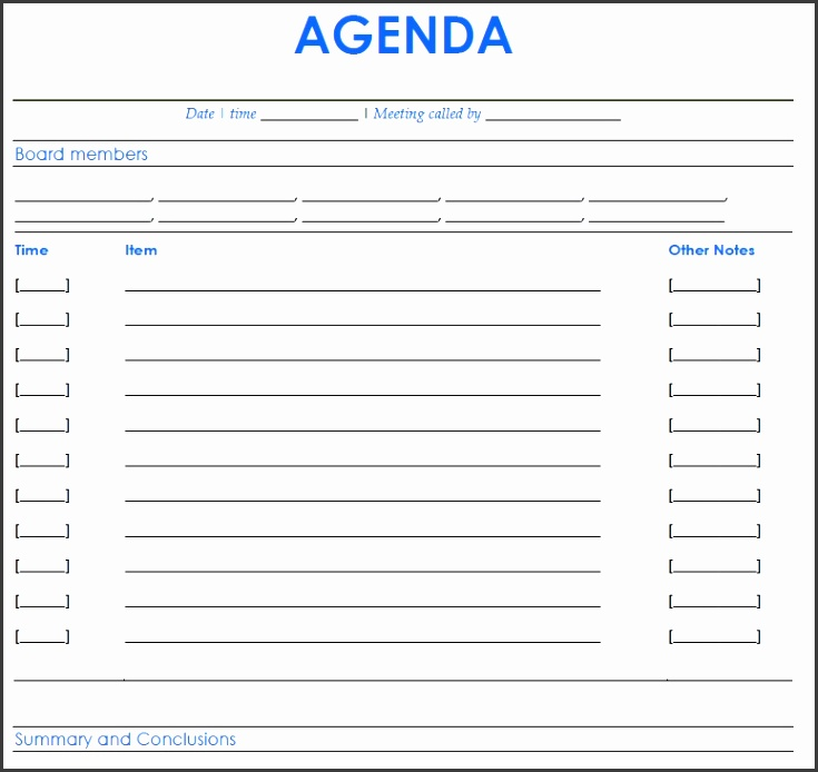Board Meeting Agenda Templates 1