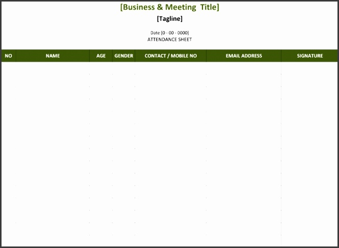 Meeting Attendance List Template for Excel