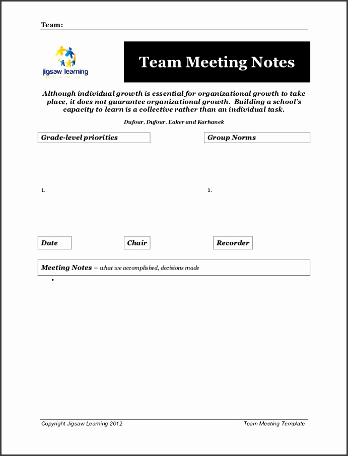 Meeting Notes Template Team Team Meeting NotesAlthough individual growth