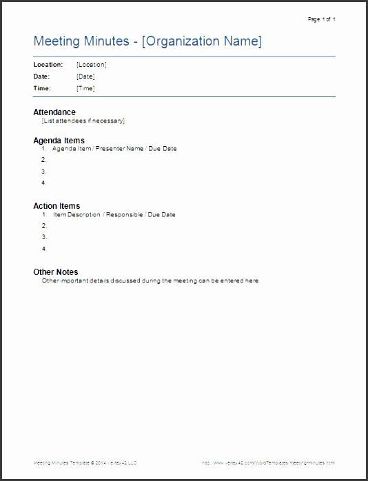 Meeting Minutes Templates For Word throughout Meeting Notes Template