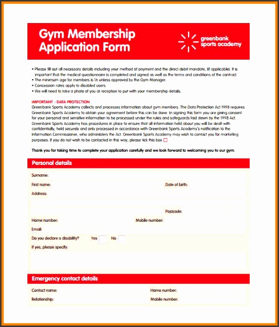 Gym Membership contract Form template
