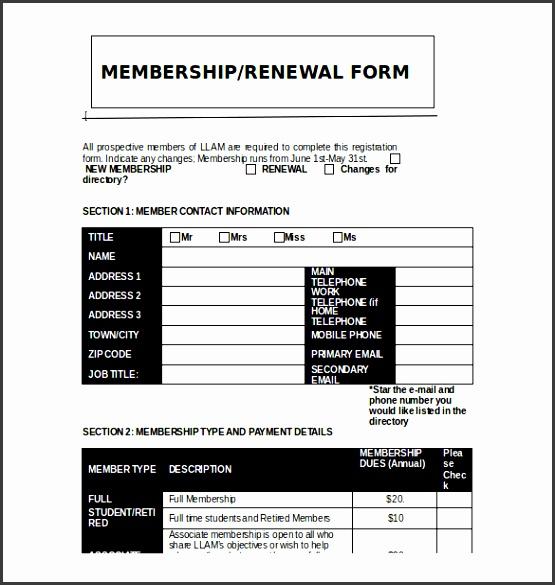 Printable Club Membership Application Template Free Download