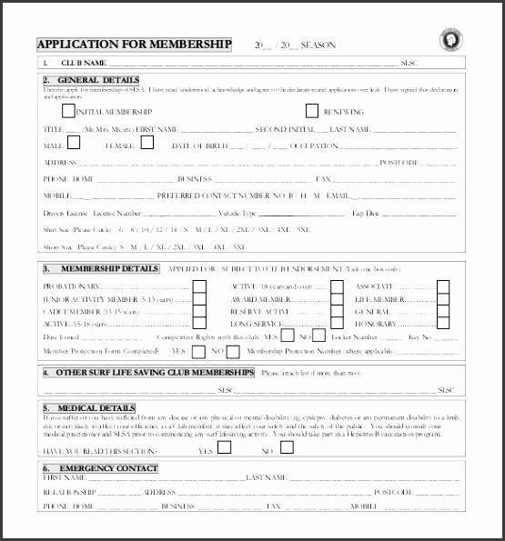 Sample Club Membership Application Form Free Download