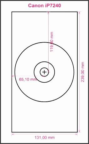 Canon iP7240 printer CD DVD tray layout
