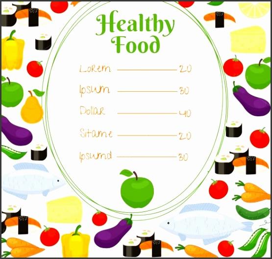 Sample Healthy Food Price Menu Template
