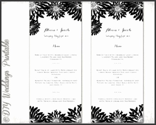 "Printable Wedding menu template Black & white DIY wedding menu ""Flower Burst"" Gerber Daisy"