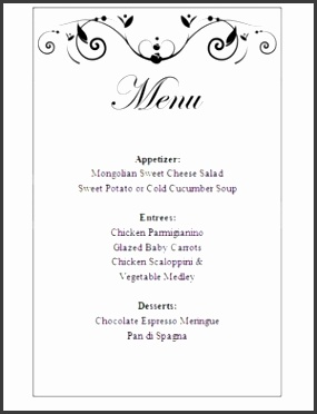 Poetic Passion Menu