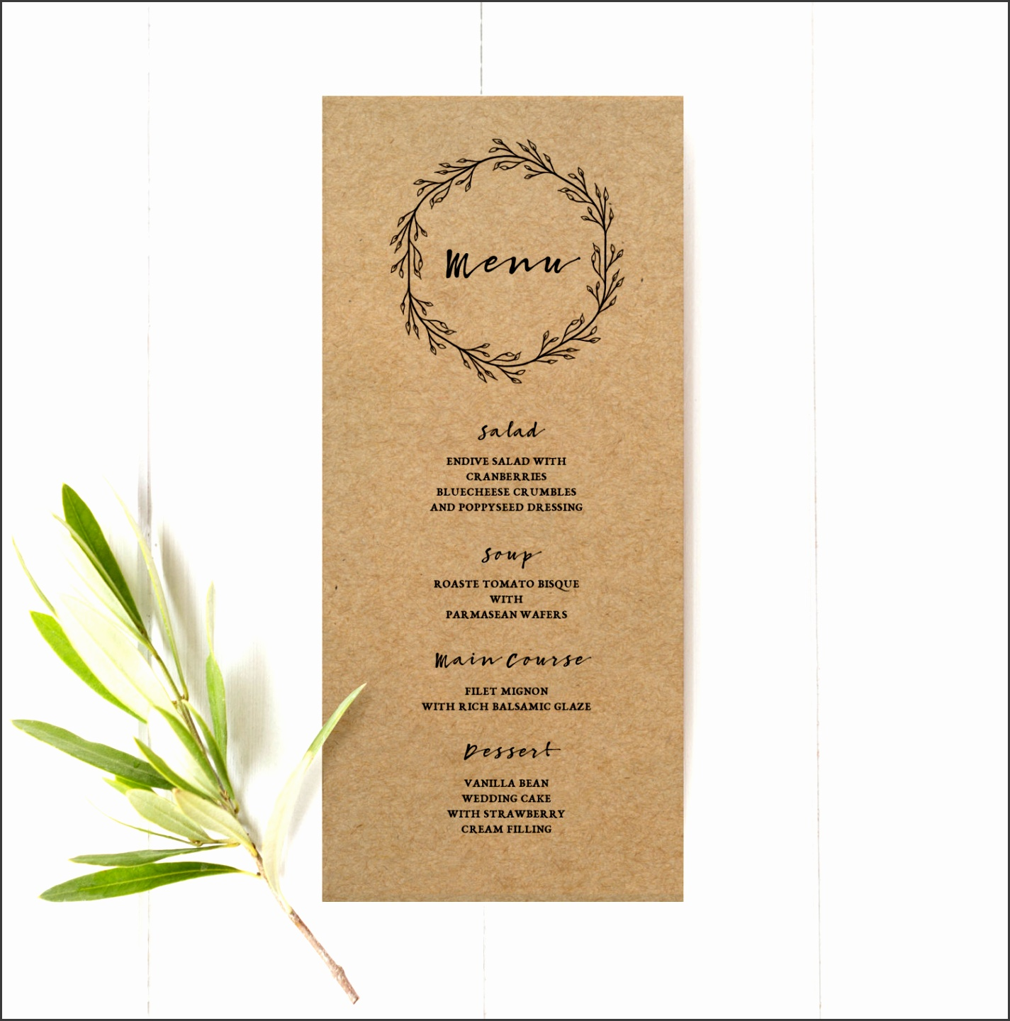 Printable Wedding Menu Template Rustic Kraft Menu Card Kraft Paper Rustic Wreath Black and White Leaves Simple Minimal