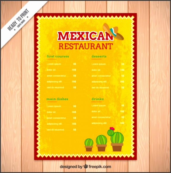 Yellow mexican menu template with cactus Free Vector