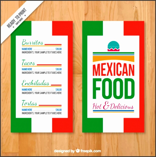 Menu template with mexican colors Free Vector