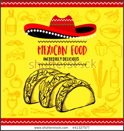 Mexican menu placemat food restaurant menu template design Vintage creative dinner brochure with hand